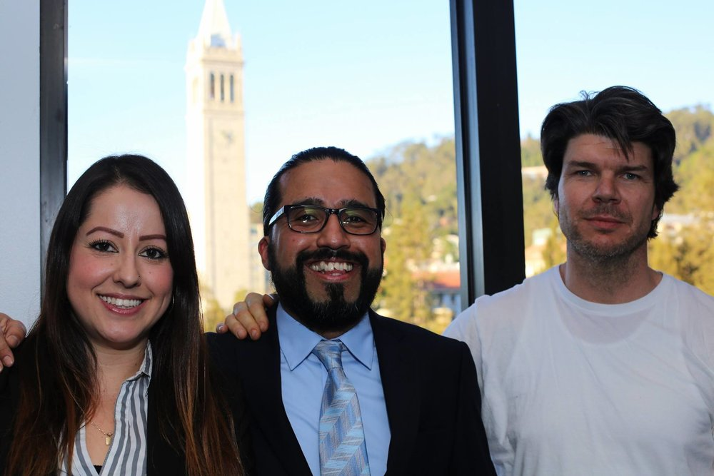 Berkeley Underground Scholars Program Director Violeta Alvarez and Co-founders Danny Murillo and Steven Czifra