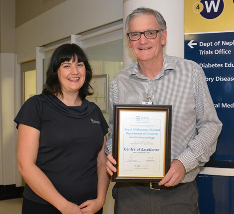 Pictured is Katie Marley, Manager Diabetes Education and Professor Peter Colman AM, Director Diabetes and Endocrinology at the Royal Melbourne Hospital.