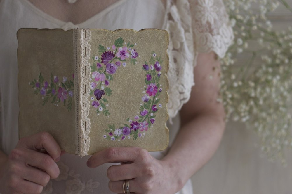 hand painted wedding vow book