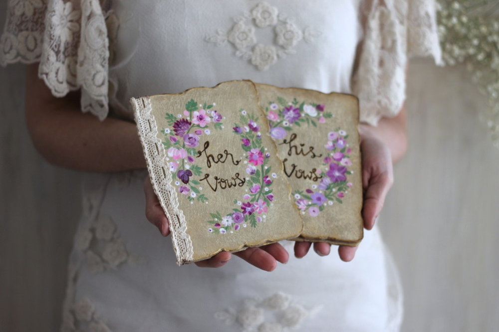 handmade wedding vow books