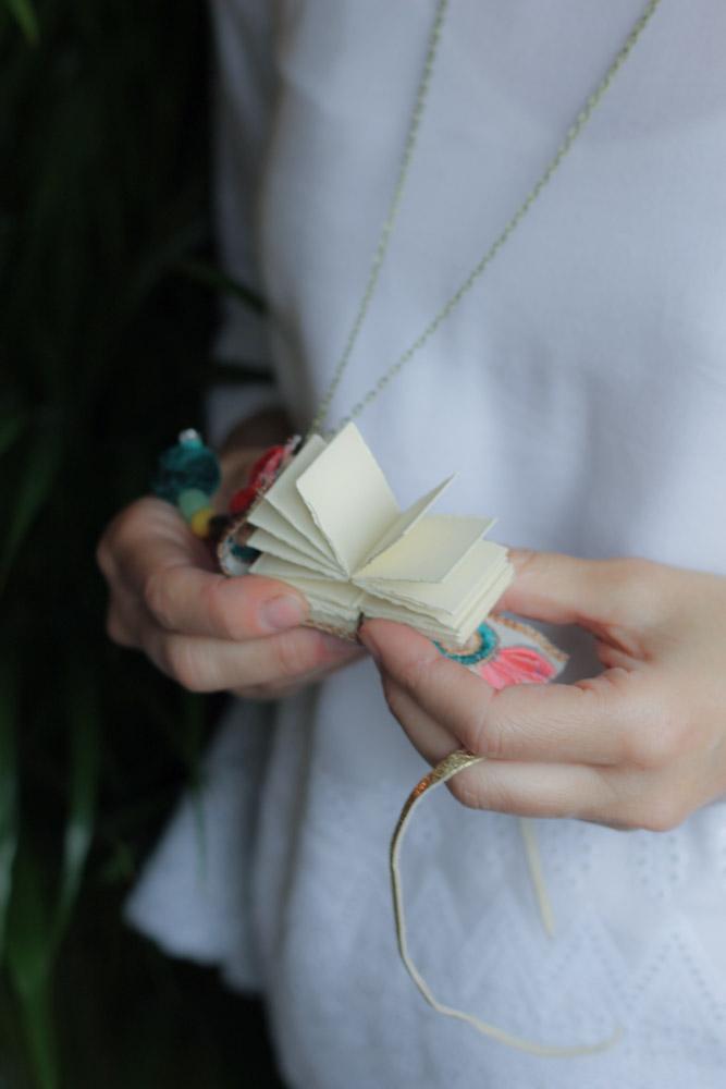 Boho fabric miniature book necklace | Miniature book jewellery | Gift for  Artist | Feroz Laleh