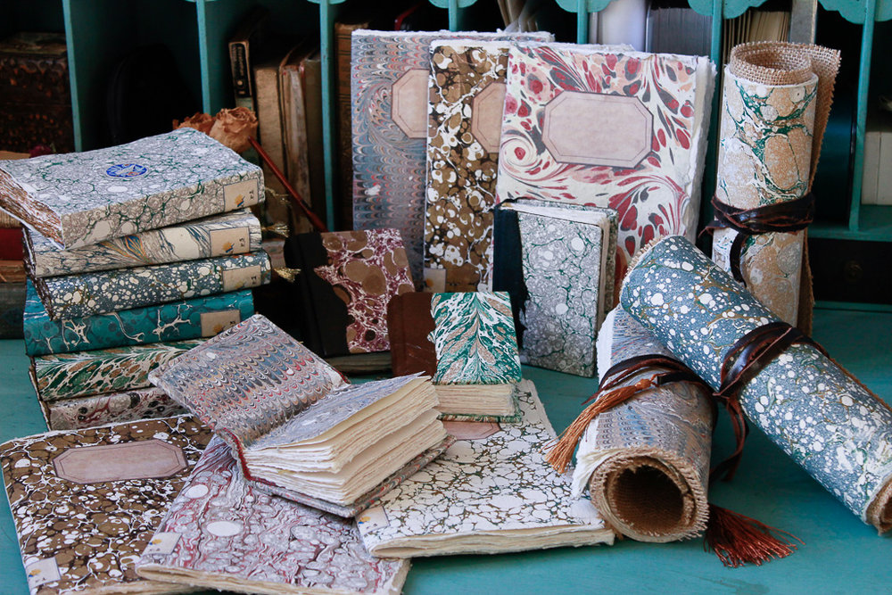 MARBLED COLLECTION - An assortment of one-of-a-kind handmade art journals and artist scrolls.