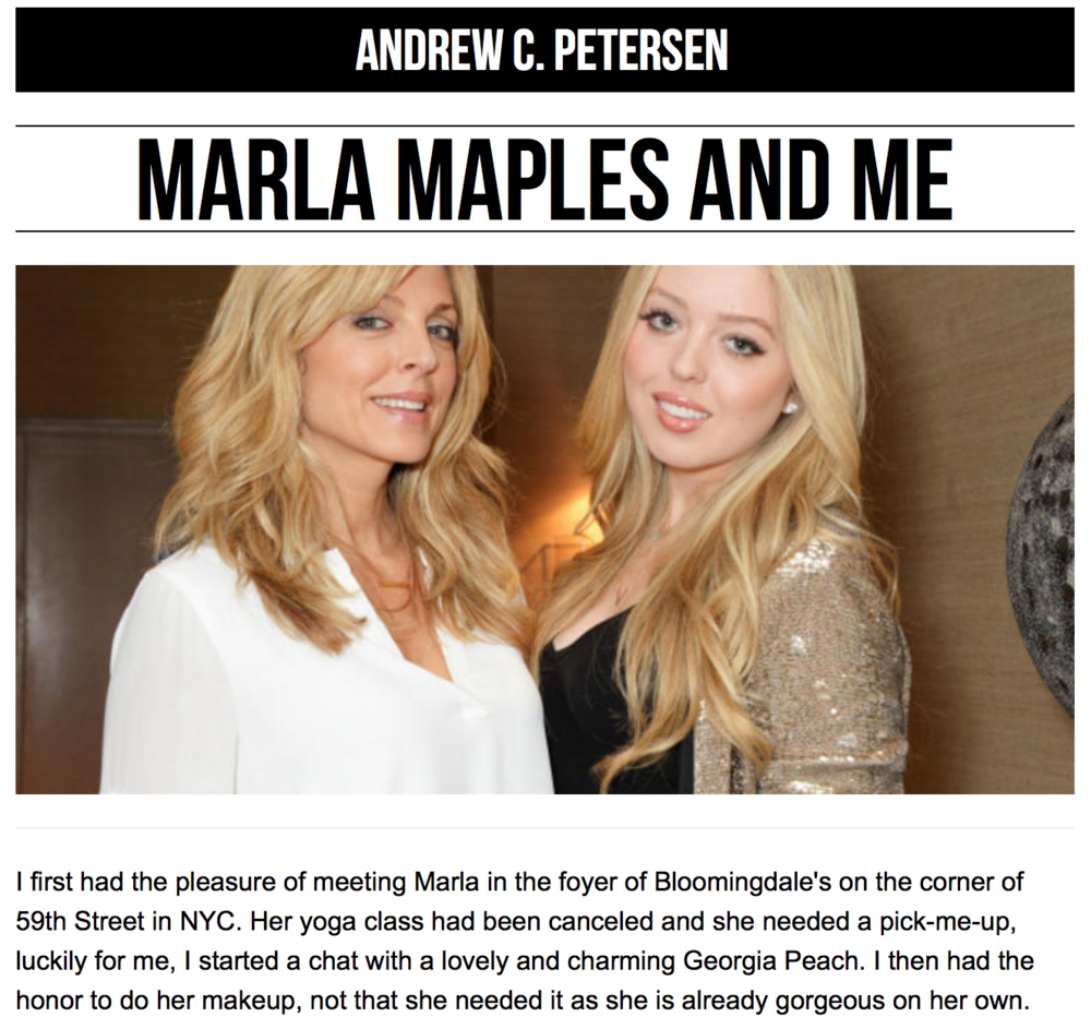 Marla Maples and Me, by Andrew C. Petersen - Charleston Grit