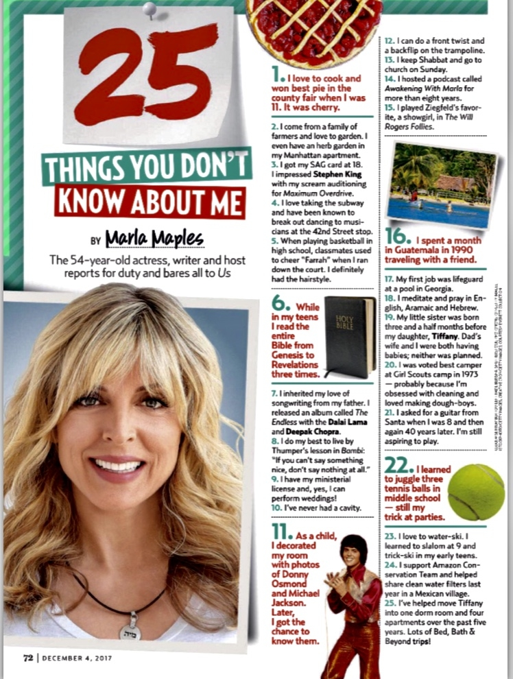 US Weekly  asked me to share some fun bits of trivia for their Dec. 4th issue.  Anything upexpected?