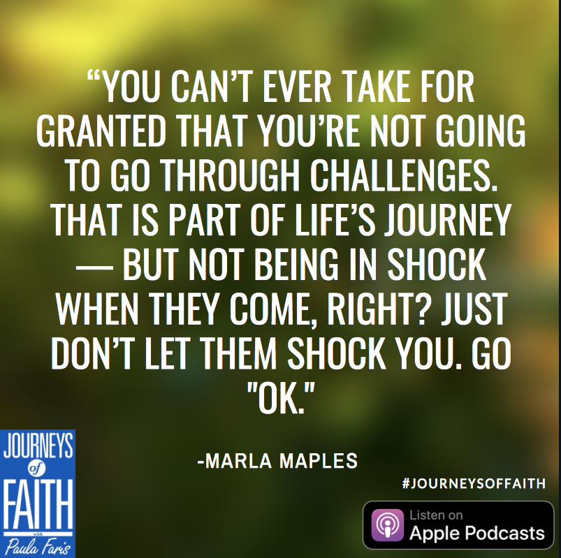 Marla Maples overcoming challenges quote from ABC Journey's of Faith Podcast with Paula Faris
