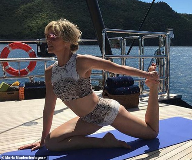 Marla Maples does yoga on a yacht in Caribbean.