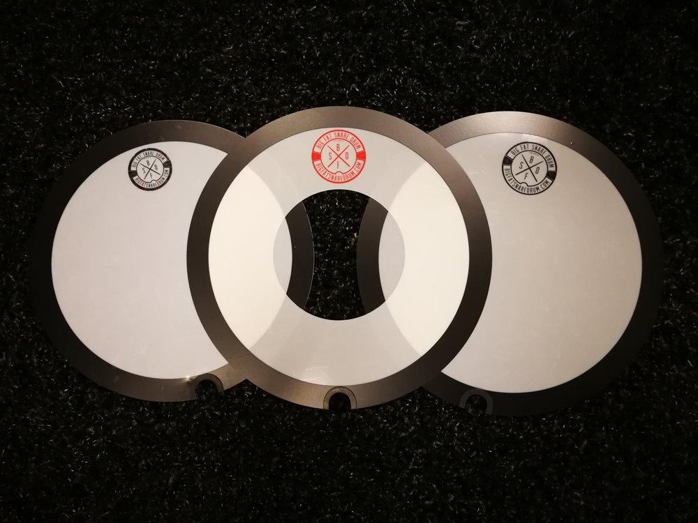"Big Fat Snare Drum's, from left to right - 13"" Original BFSD, 14"" Steve's Donut, 14"" Original BFSD."
