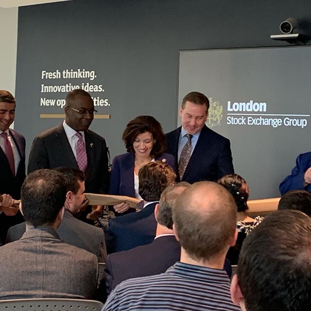 Ribbon cutting on J.E.G. Contracting's latest project, the London Stock Exchange at 40 Fountain Plaza.