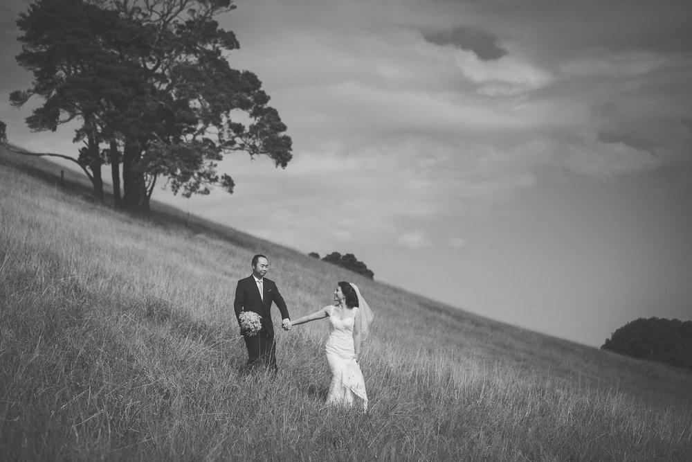 Landscape black & white wedding photo of couple holding hands