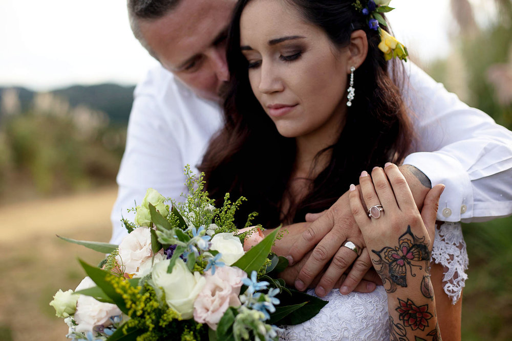 Close up wedding photo of with flowers