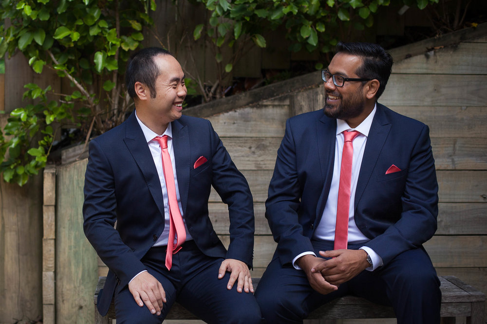 Groom and Best Man Relaxed Portrait