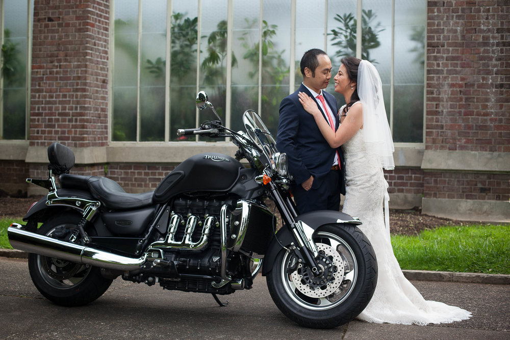Bride and Groom with Harley Davidson