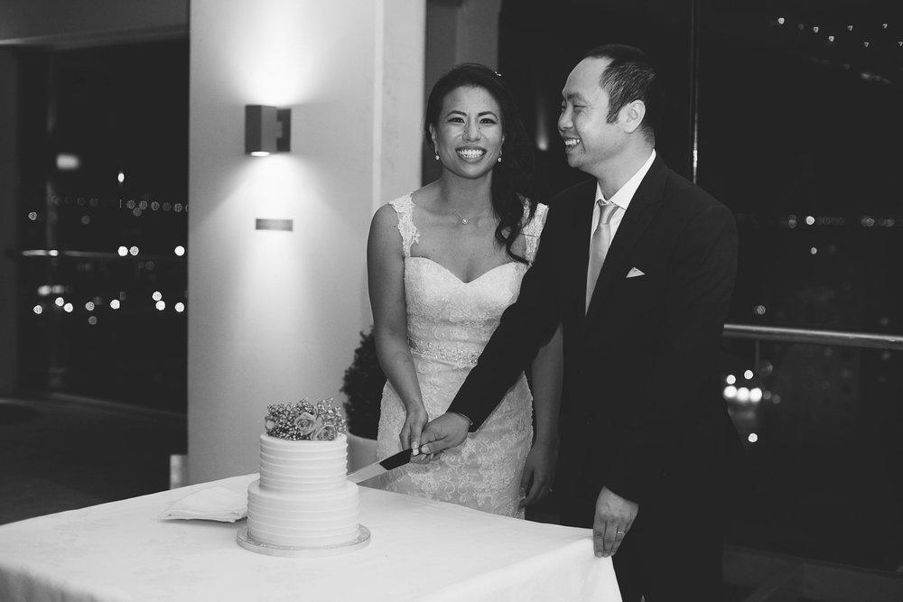 Bride and Groom cut cake