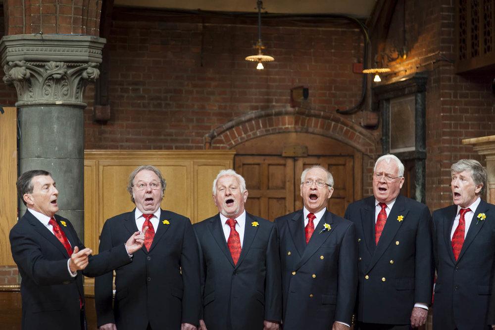 Male choir singing at wedding ceremony