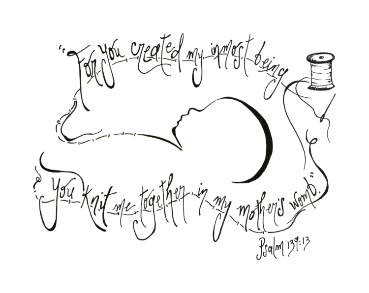 CUSTOM Psalm 139:13 (ultrasound) — Scripturedoodle