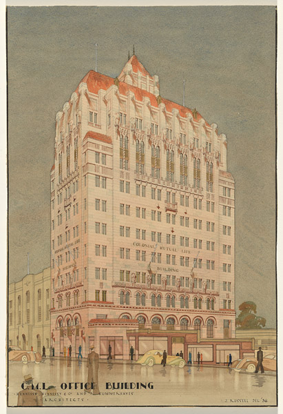 Architectural Rendering of CML Building by James Russell, 1936
