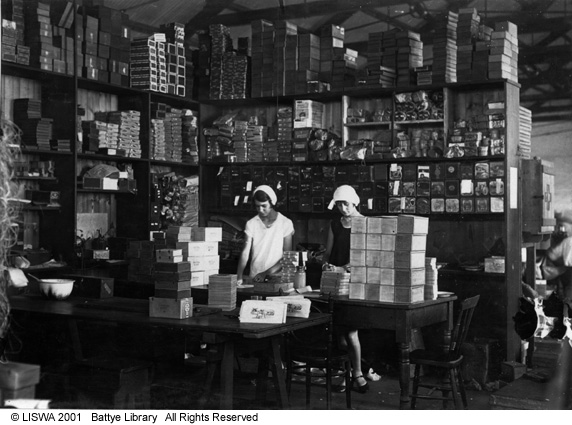 Packing department at Michelides Tobacco Factory, 1928