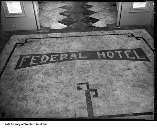 Floor at entrance to Federal hotel, 1953