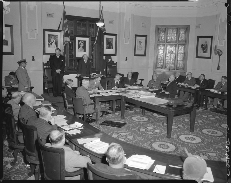 Perth City Council, meeting in Chambers, 1954