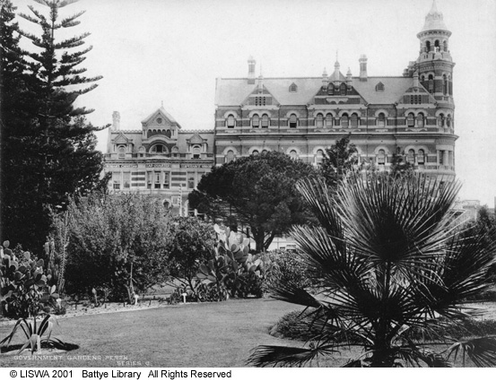Stirling Gardens, Perth. Moir's Chambers in background (right).
