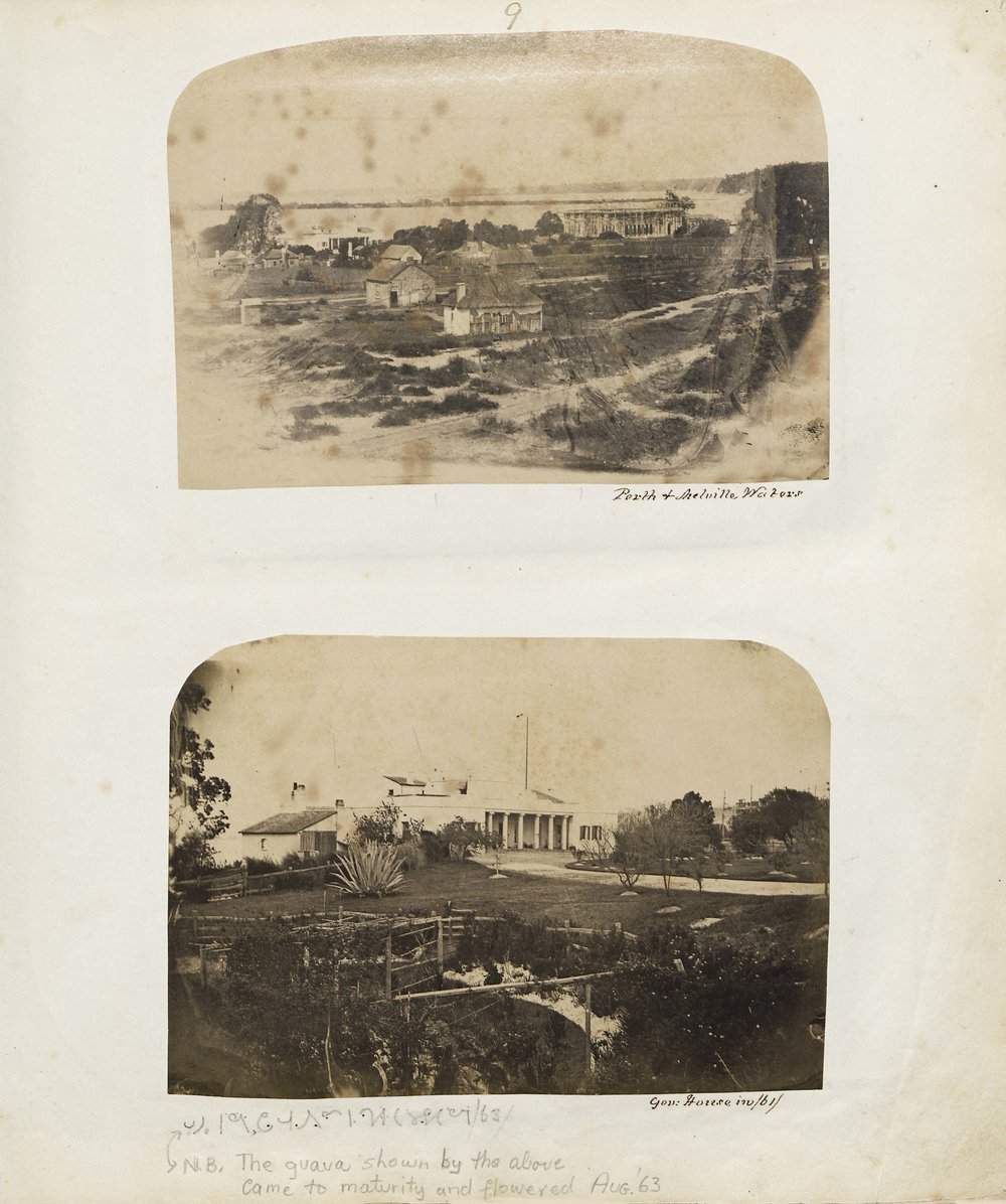 Top: View of Government house (left of photo) from Perth Hospital across derelict property. Bottom: Old Government House, Perth. 1861