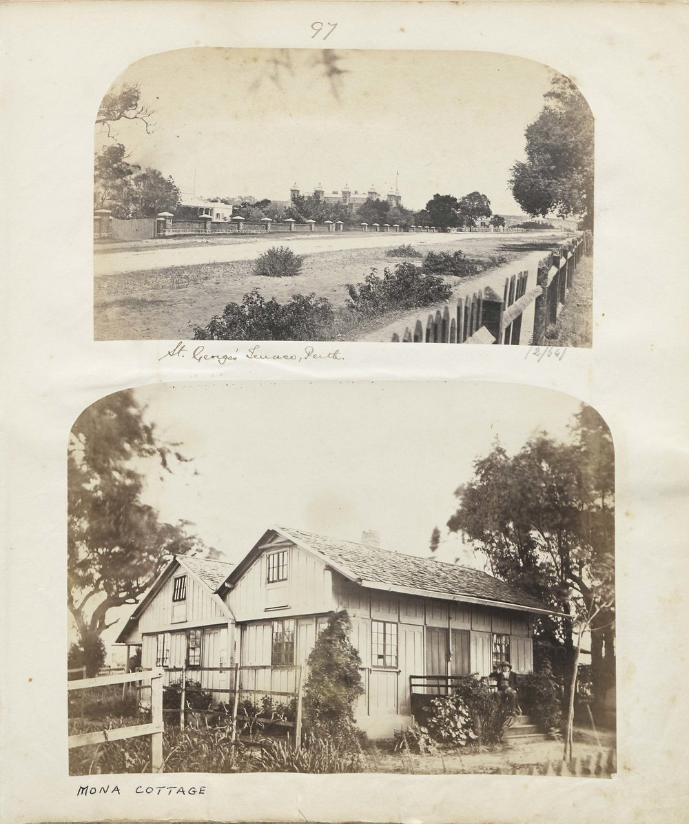 Top: St George's Terrace, Perth, showing Old government house (left), & New Government House (right). Bottom: Mona Cottage, ca 1860's