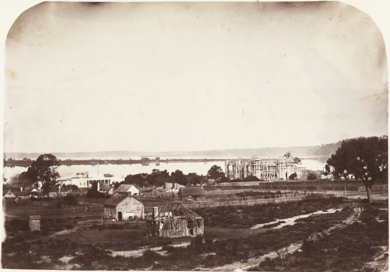 View from Perth Hospital across derelict property, Old Government House on left, by A.H. Stone, 1862