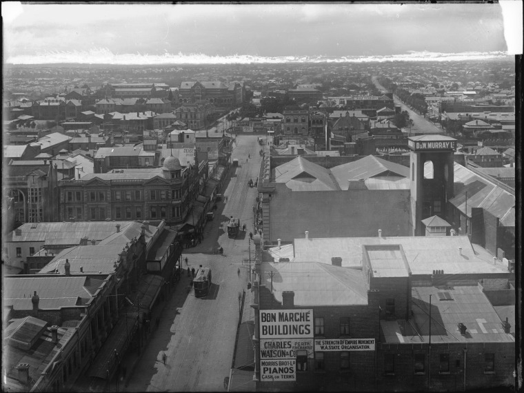 Barrack Street from Town Hall, Empire buildings at centre left, 1923