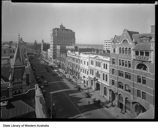 St George's Terrace, Stott's College/Perpetual Trustees in right foreground, 1939