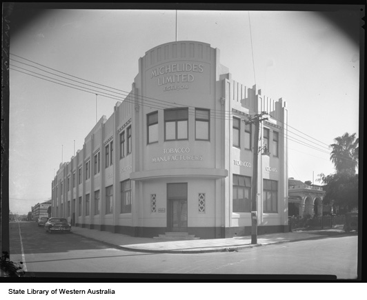 Michelides Tobacco Factory facade, 1952