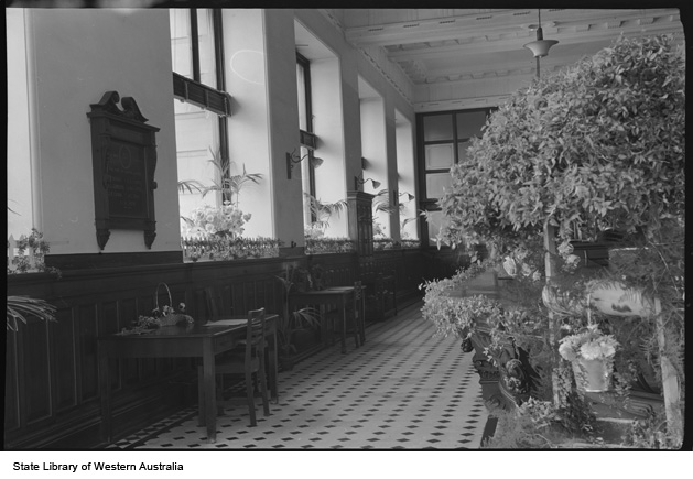 Interior of AMP Chambers decorated for Flower Day, 1955