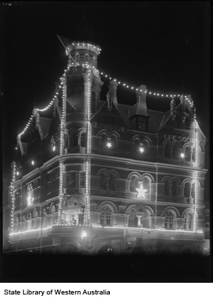 T & G Building lit up for state Centenary, 1929