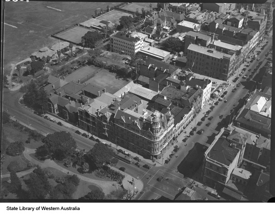 Aerial photograph of Moir's Chambers, 1935