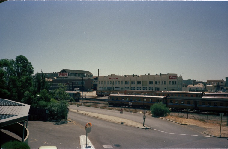 Peters Ice Cream (formerly Michelides Tobacco Factory), from across railway yards, 1985