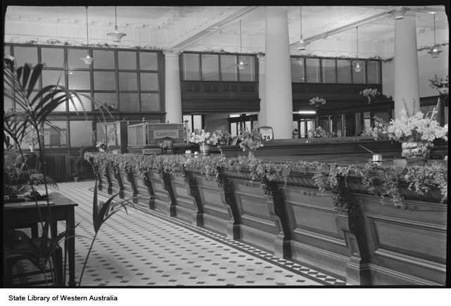 AMP Interior, decorated for Flower Day, 1954