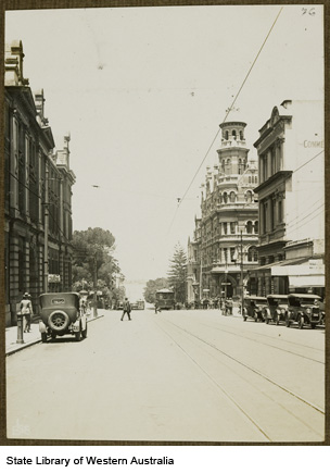 Barrack Street, ca 1928. Moir's Chambers second building from right.