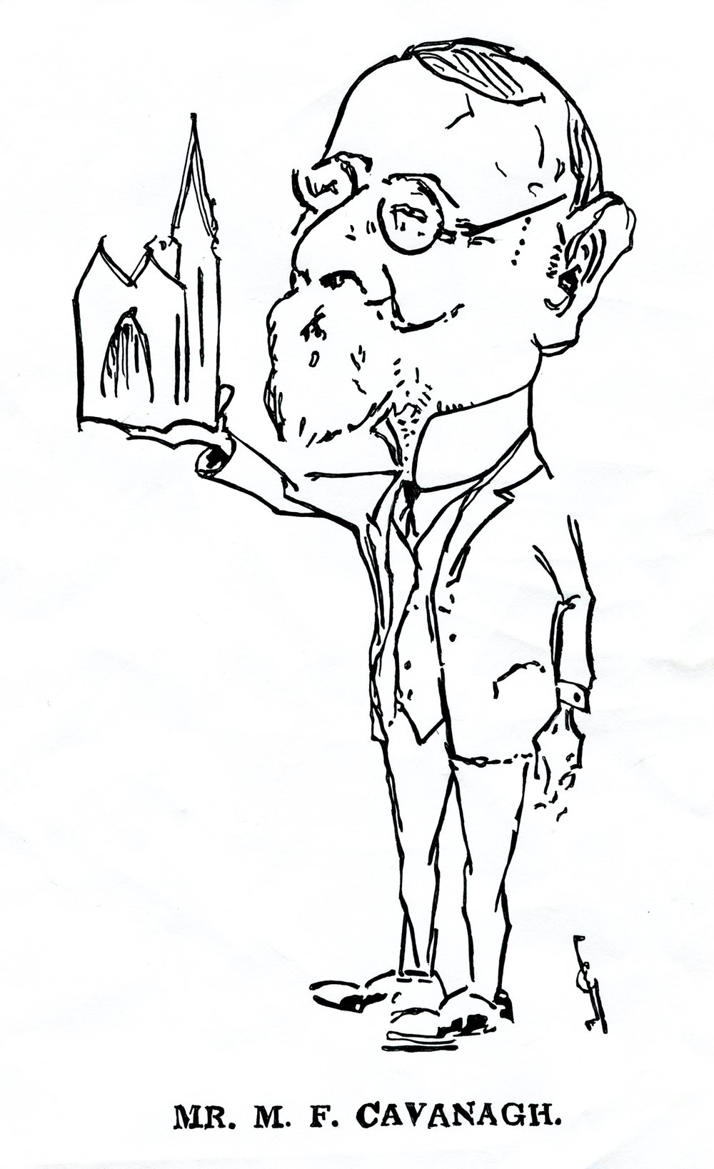 Michael Francis Cavanagh as depicted in The Daily News, 2 April 1929, during reconstruction of St Mary's Cathedral.