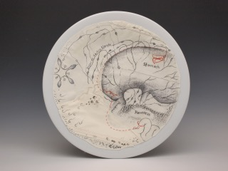 mixed media: pordelain plate, textile, pencil, ink
