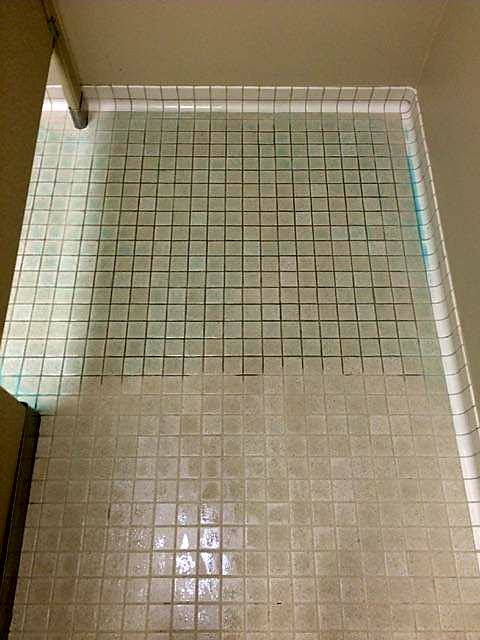 Tile during cleaning