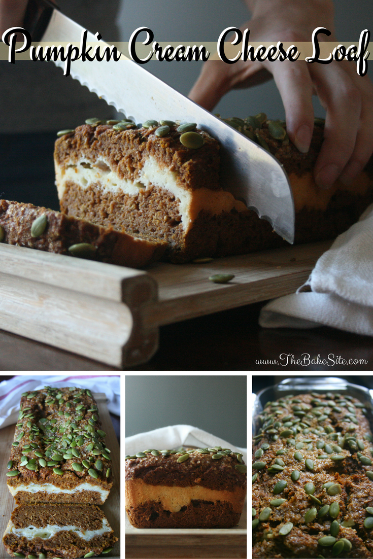 This 100% whole wheat pumpkin loaf has a tangy, sweet cream cheese center and is full of fall flavour.