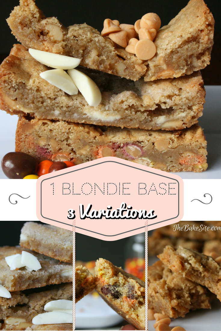 1 Blondie base, 3 recipes. Butterscotch and candied walnut, cardamom and white chocolate, and peanut butter lover's. Each one is simple, unique and delicious!   | TheBakeSite.com