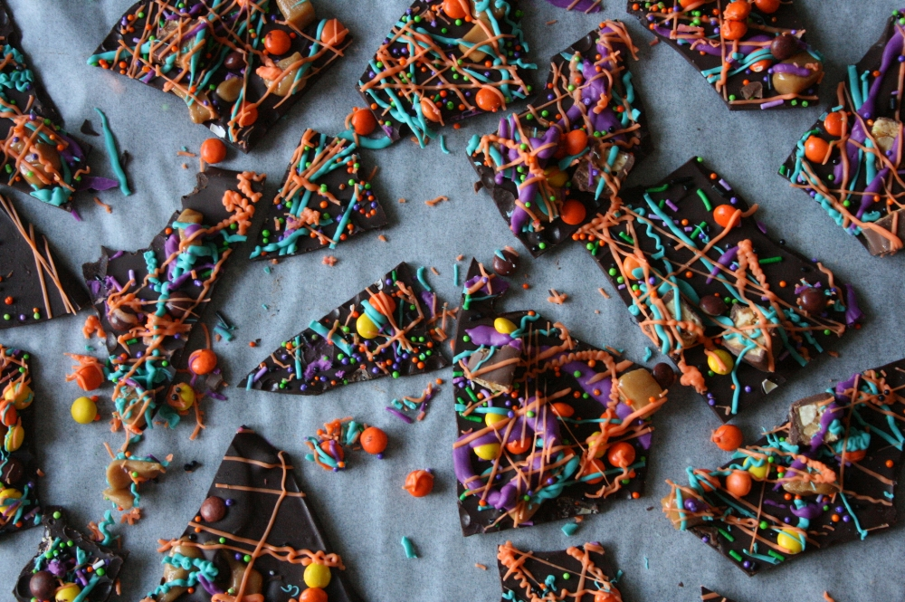 Colorful and festive halloween chocolate bark