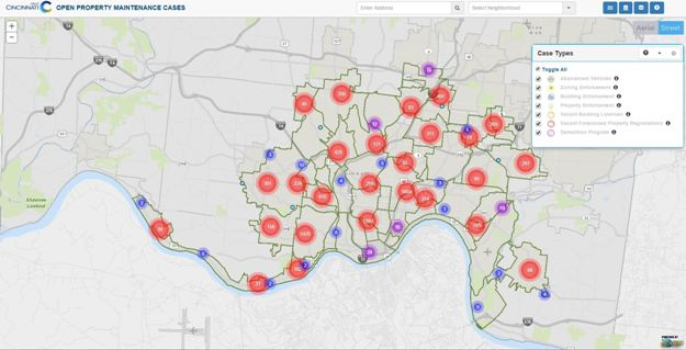 Image: in Cincinnati, OH the Office of Performance and Data Analytics has led open data and visualization efforts for residents and city officials to access and use at any time. Image credit: City of Cincinnati.