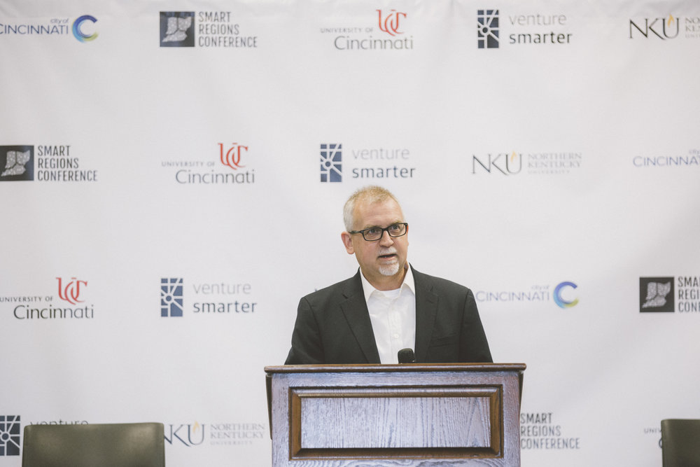 University of Cincinnati VP of Research Dr Patrick Limbach speaks at Venture Smarter's Smart Regions Conference (October 2017)