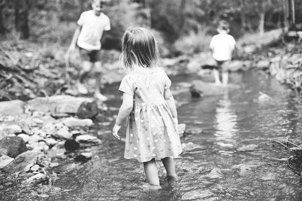 Kids playing in the creek during family photography shoot at Mt Coot-tha Brisbane