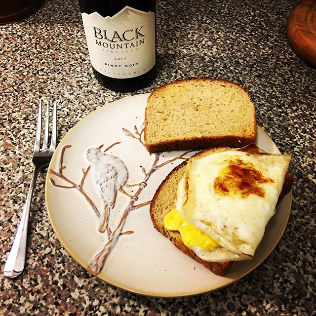 Farm fresh eggs from @harrischandler512 and Black Mountain Pinot Noir from @traderjoesfood great combo.