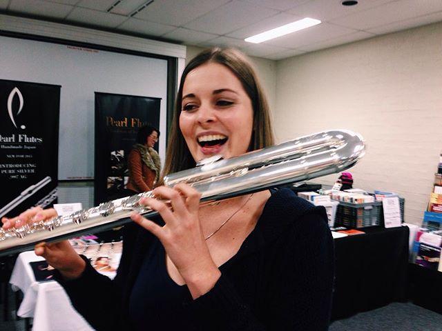 Found a bass flute friend #lowfluteswag #berthathebass #unboundflutefestival