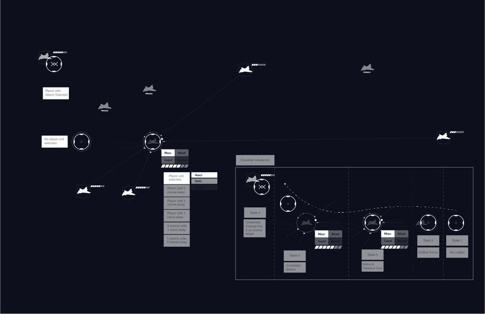 More iteration of the UI. The more we played with how head tracking was we decided when a user ship was selected we needed to create a very pronounced line to the potential moves.