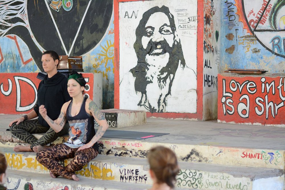 Teaching Class at the Beatles Ashram, Rishikesh, India