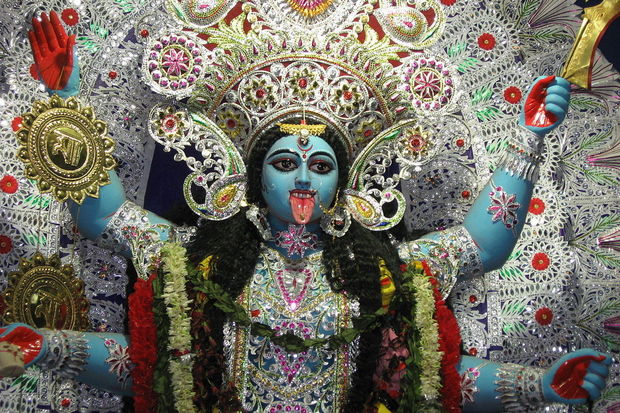 Kali  (Sanskrit: काली;Telugu: కాళీ; Tamil: காளி; Bengali: কালী), also known as Kalika (Sanskrit: कालिका) is often misunderstood. She is the Hindu goddess associated with empowerment, or shakti (SHAKTI!!!). She is the mighty aspect of the goddess Durga. The name of Kali means the black one and force of time. She is therefore called the Goddess of Time, Change, Power, Creation, Preservation and Destruction. Her earliest appearance is that of a destroyer principally of evil forces. So when I say I have an altar for the goddess of destruction people don't really get it and I understand. But Kali has helped me to destroy my lack of belief in myself, my fears, and many of my worries. It's not just random destruction, though one must be careful with such a powerful force. Sometimes you get what you ask for, tenfold. I am filled with strength and gratitude. In this life THIS was the mother I was handed. I'll take it. JAI JAI KALI MA!!